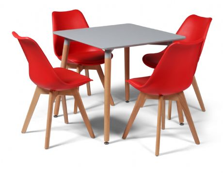 Toulouse Tulip Eiffel Designer Dining Set Grey Square Table & 4 Red Chairs Sale Now On Your Price Furniture